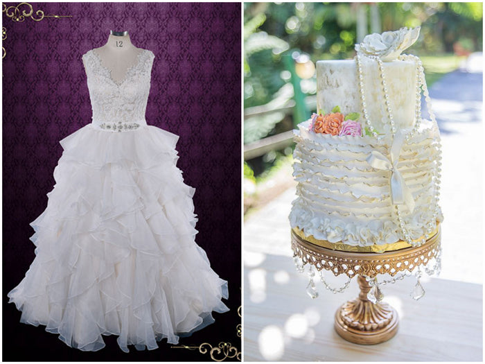 Ruffle Wedding Dress and Ruffle Cake