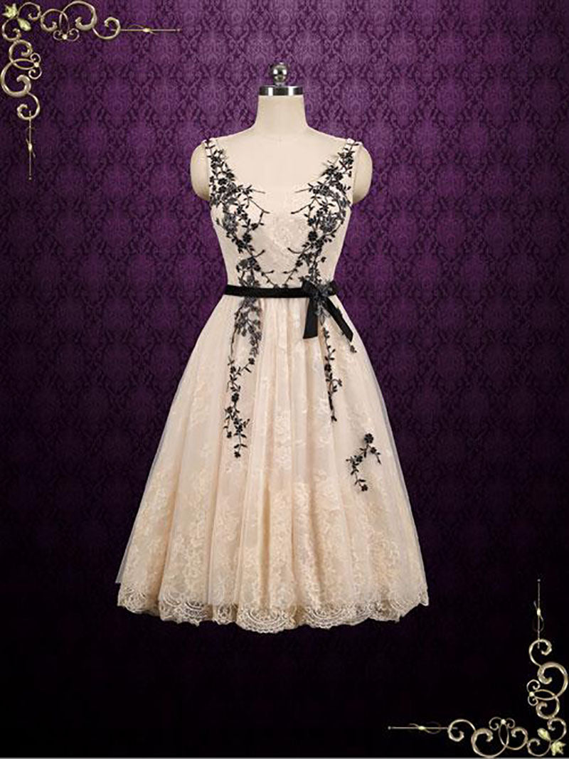 Short Lace Formal Dress with Black Lace