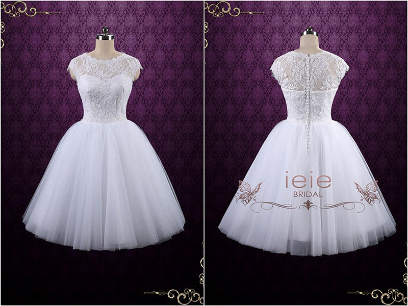 Tea Length Lace Wedding Dress with Tulle Skirt