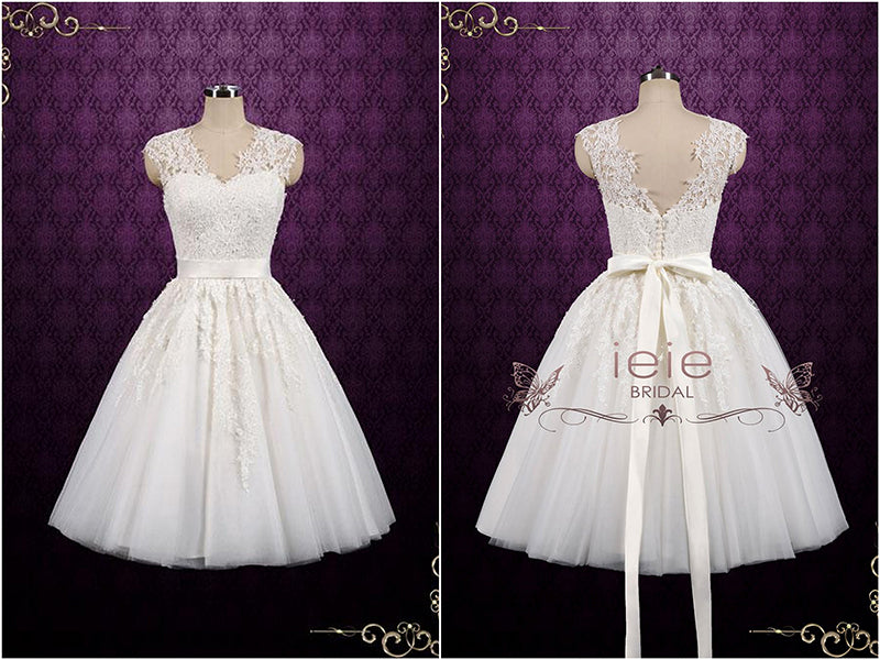 Vintage Short Length Lace Wedding Dress