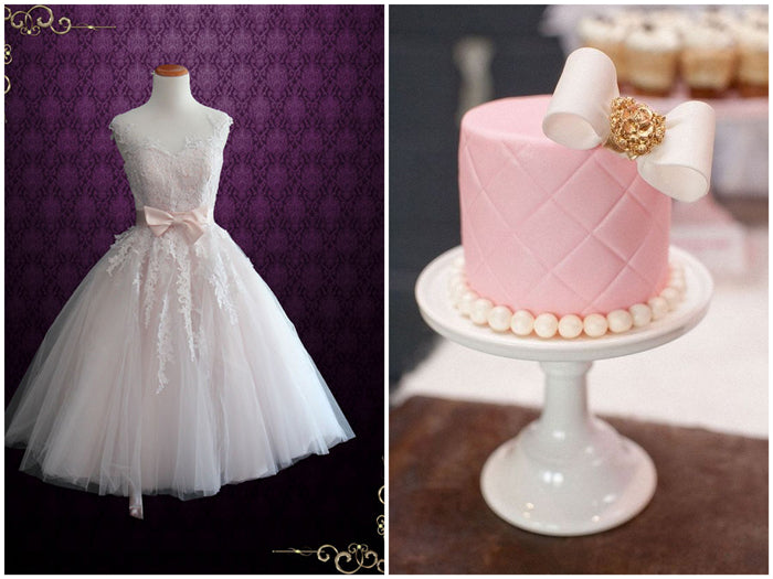 Tea Length Wedding Dress and Pink Cake