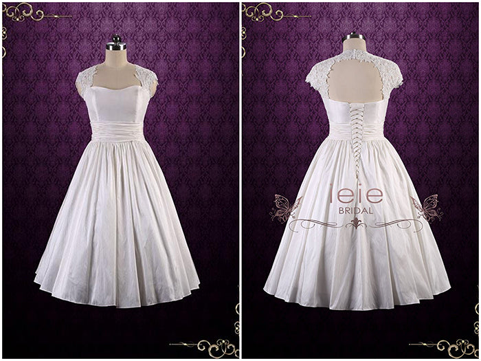 Tea Length Wedding Dress with Keyhole Back