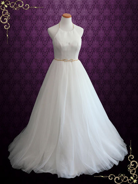 Simple Elegant Halter A-Line Tulle Wedding Dress
