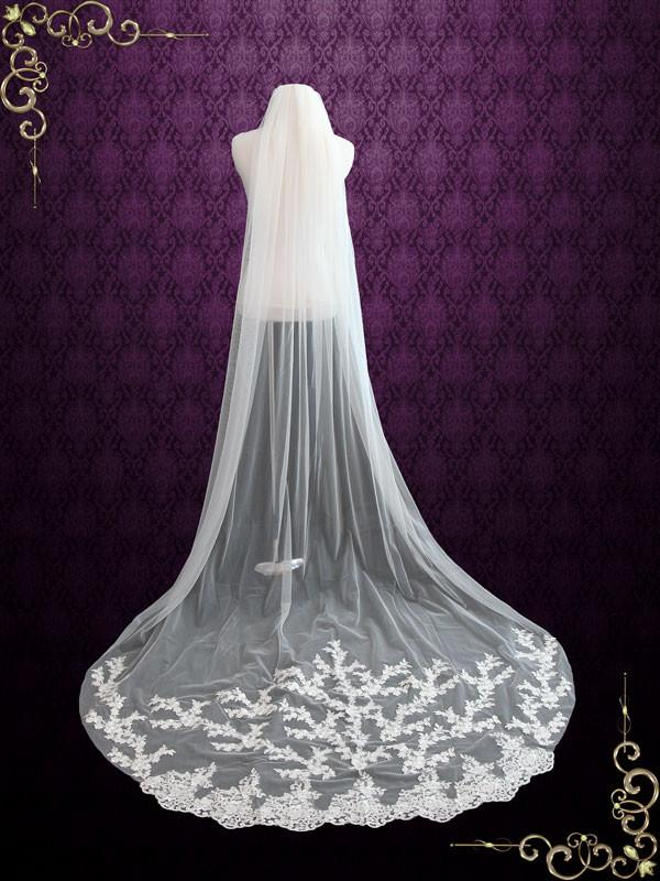 Cathedral Length Veil with Lace Applique