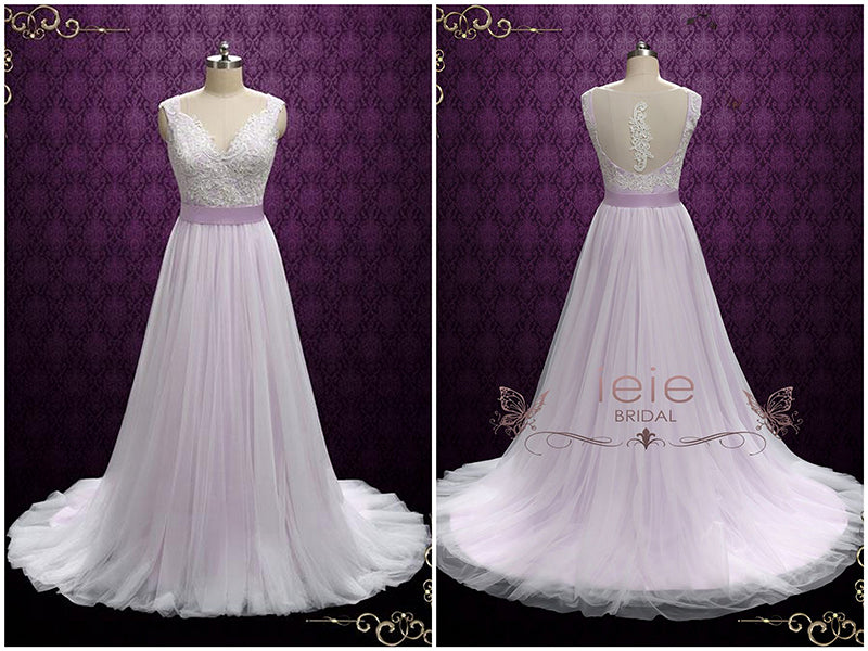 Purple Fairytale Wedding Dress with Lace and Tulle