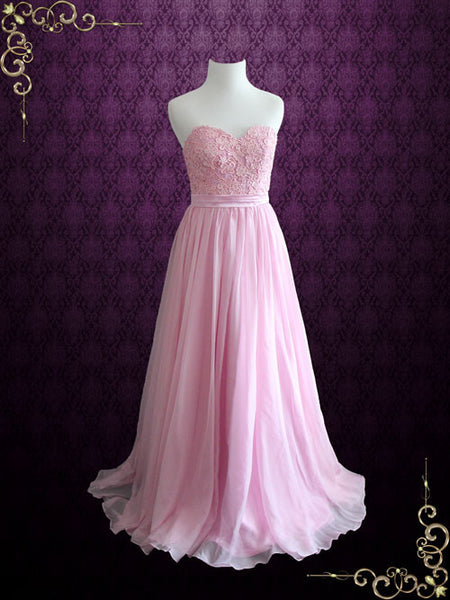 Pink Strapless Lace Chiffon Dress