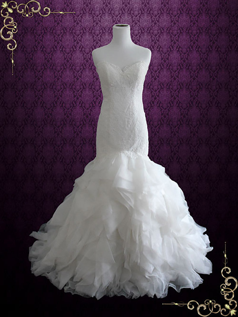 Strapless Mermaid Wedding Dress with Organza Ruffles