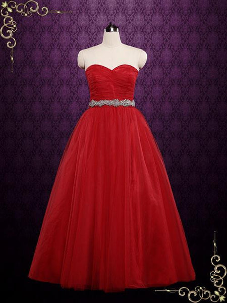 Strapless Red Tulle Ball Gown