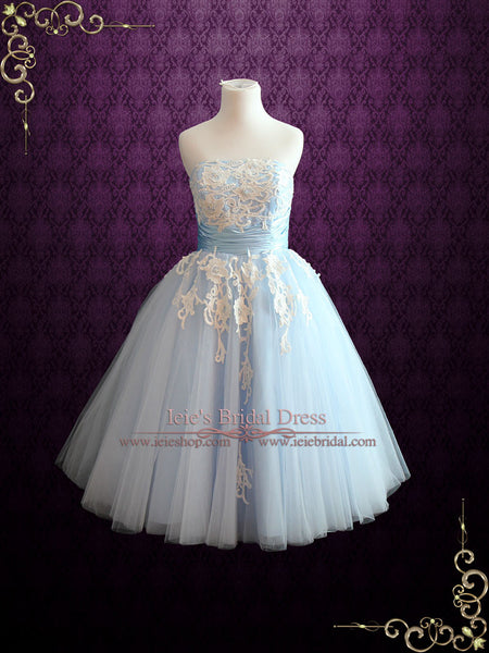 Blue Tea Length Wedding Dress
