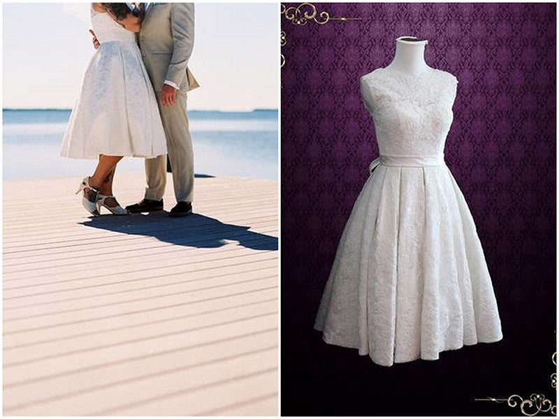 Retro Wedding Dress with Pleated Skirt