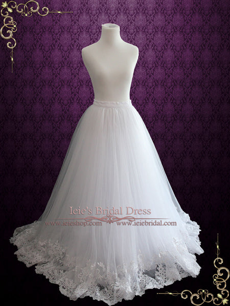 A-line Tulle Skirt with Lace Hem