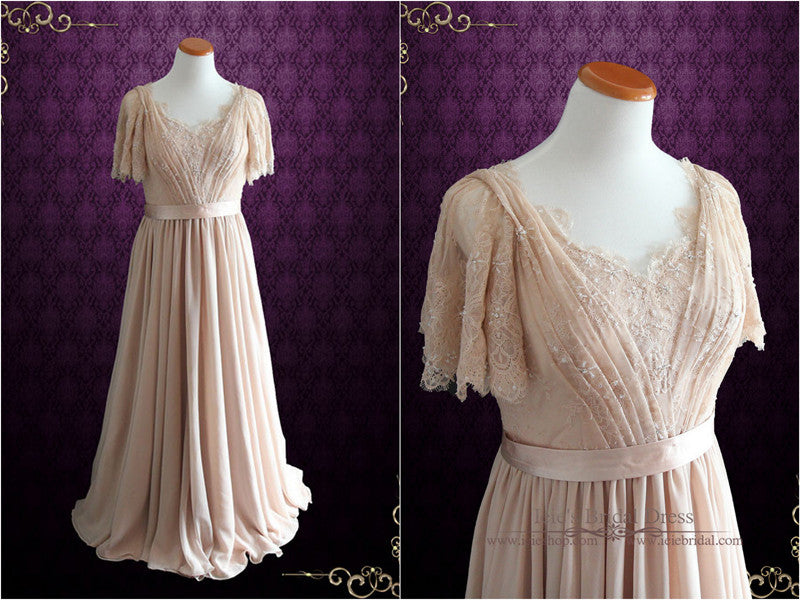 Victorian Style Beige Lace Wedding Dress