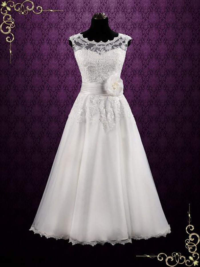 Vintage Inspired Ankle Length Lace Wedding Dress