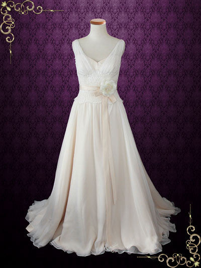 V Neck Silk Chiffon Grecian Wedding Gown