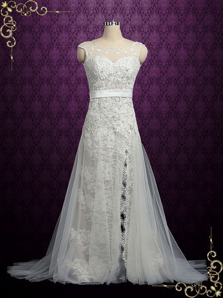 Vintage Lace Wedding Dress with Side Slit