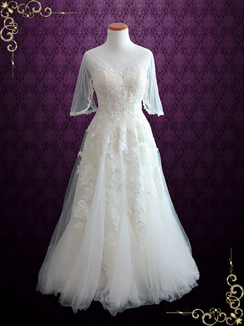 Vintage Tulle Wedding Dress with Half Sleeves