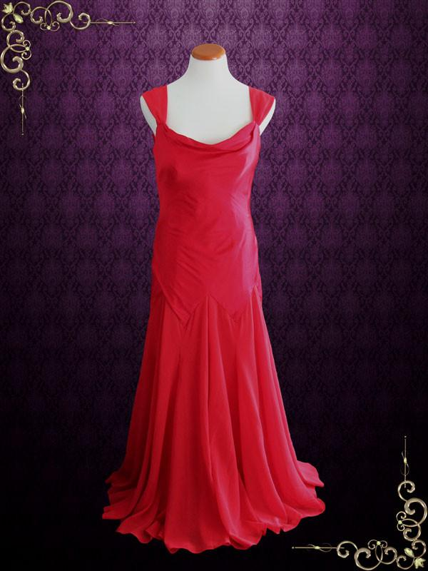 Vintage Inspired Red Long Bridesmaid Dress