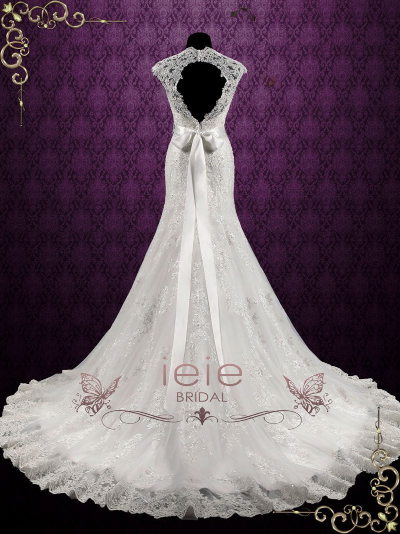 Vintage Style Lace Keyhole Back Wedding Dress