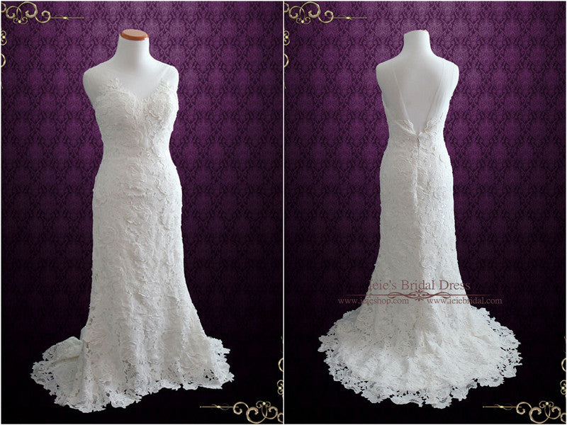 Elegant Vintage Garden Rose Lace Wedding Dress