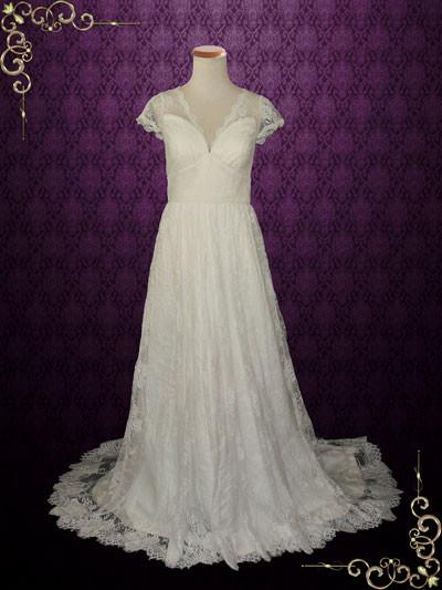 Vintage Lace Wedding Dress with V Neck and Cap Sleeves