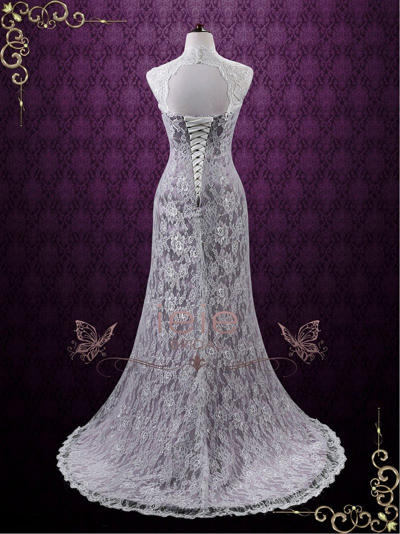 Vintage Purple Lace Wedding Dress with Keyhole Back