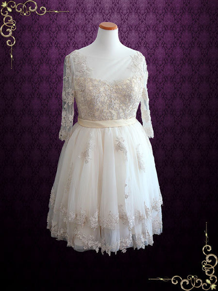 Vintage Short Champagne Lace Wedding Dress