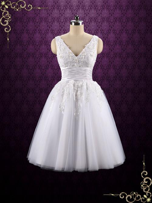 V-neck Tea Length Lace Wedding Dress