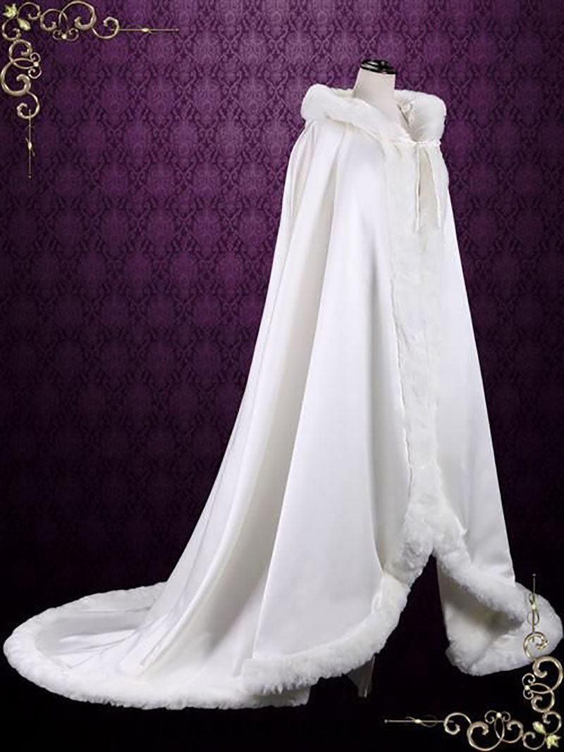 Long Winter Wedding Cloak With Fur and Hood