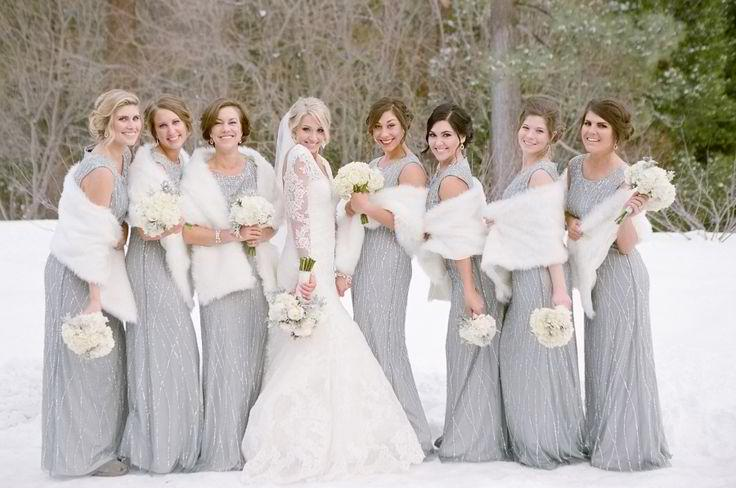 Bridesmaid Dresses for a Winter Wonderland Wedding