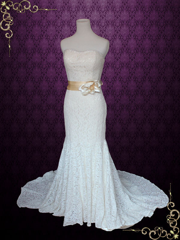 Strapless Cotton Lace Mermaid Wedding Dress | Angela