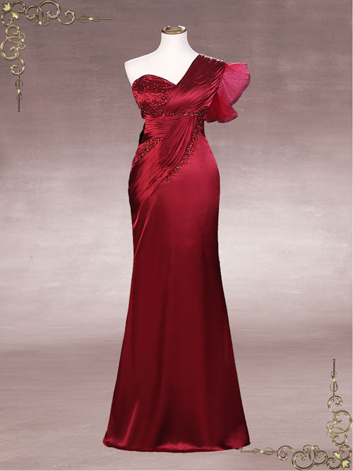 Slim Elegant Dark Red Formal Evening Dress | Sophie