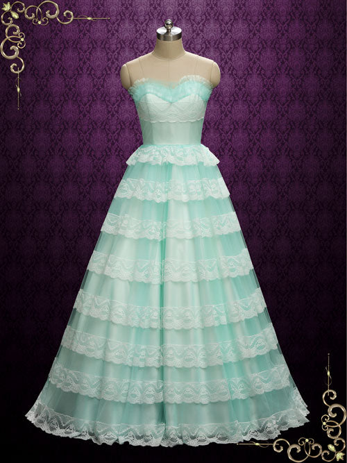 Vintage Style Strapless Turquoise Wedding Dress | Kimmie