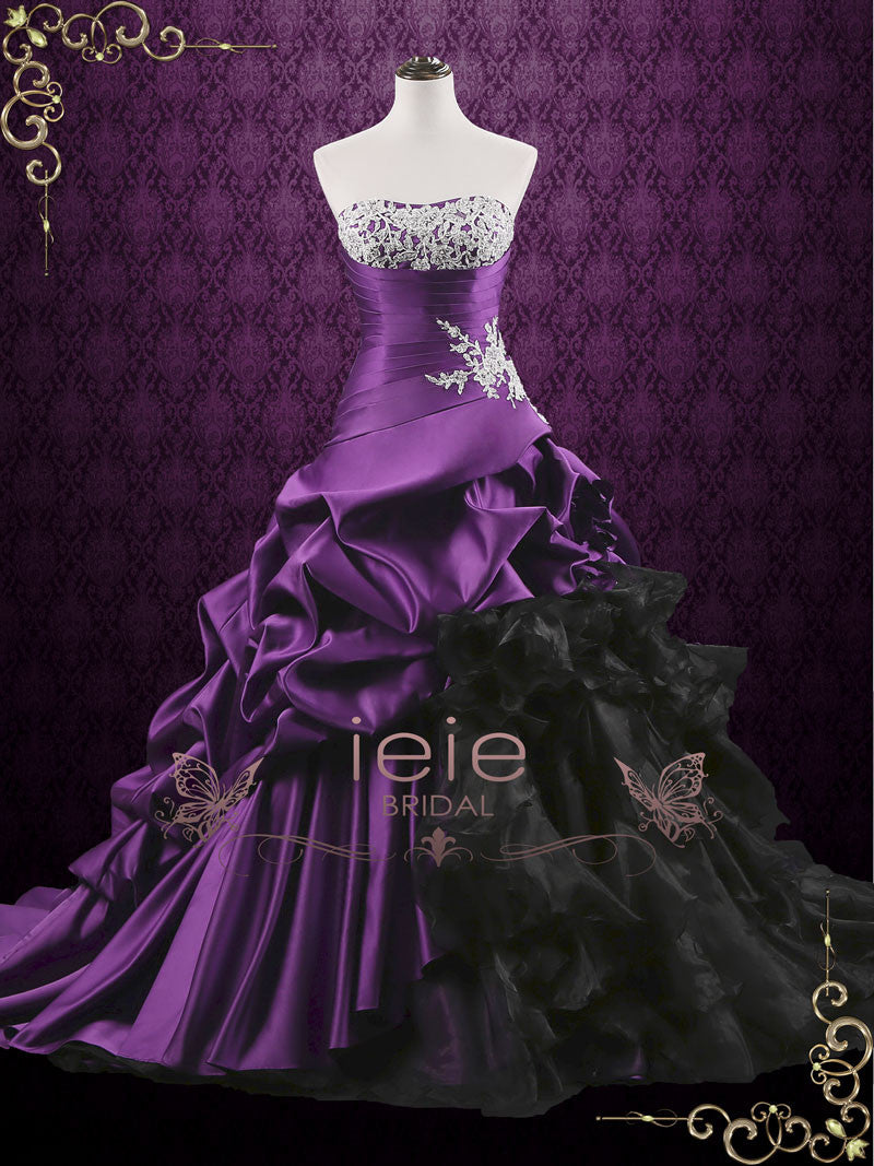 Unique Purple Lace Ball Gown Wedding Dress With Ruffles