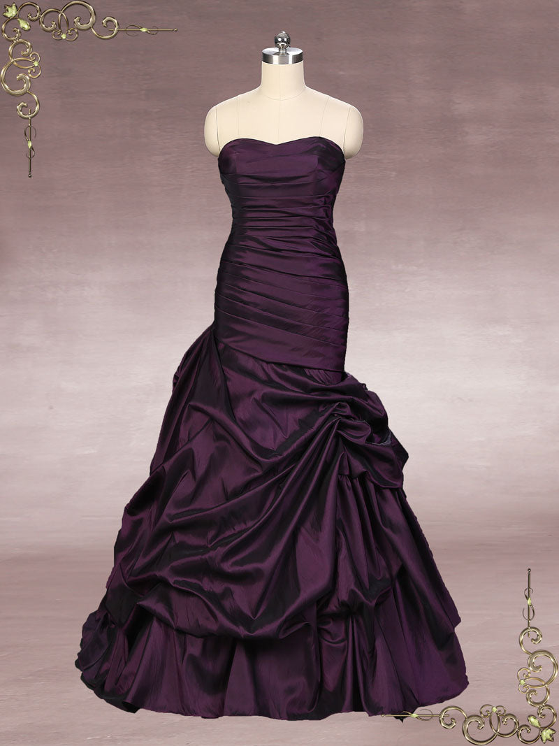Strapless Purple Fit and Flare Formal Dress | Alexi – ieie
