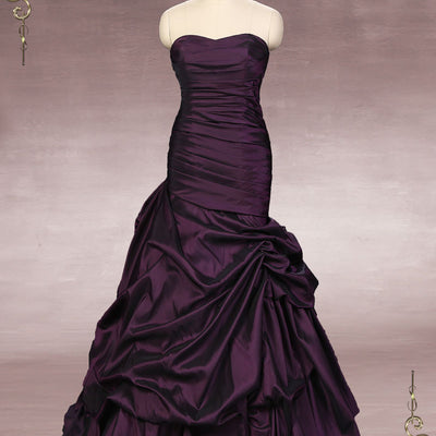 Strapless Purple Fit and Flare Formal Dress | Alexi