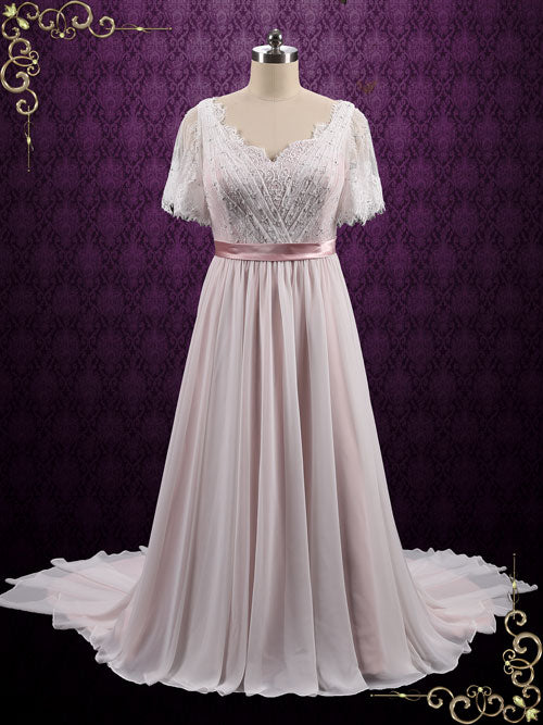 Boho Lace Chiffon Wedding Dress with Short Sleeves | Patricia