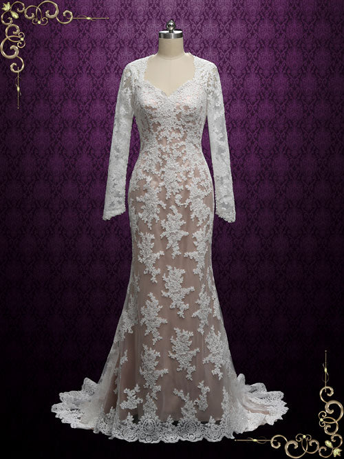 2 Piece Vintage Lace Fit and Flare Wedding Dress VALERIE