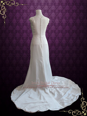 Cowl Neck Modest Illusion Lace Back Slim A-line Wedding Dress | Naomi