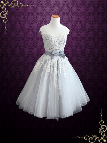 Retro Gray Tea Length Lace Formal Prom Dress | Rosalie