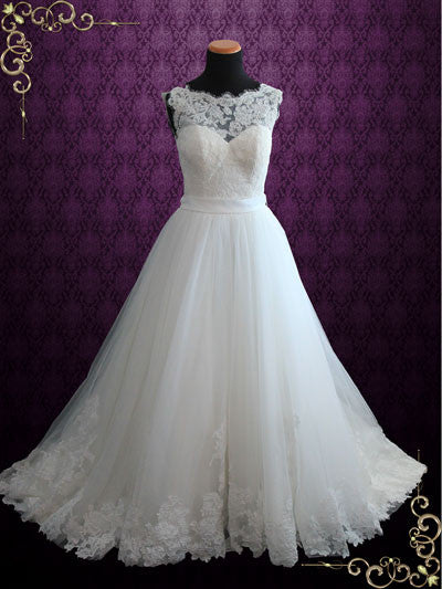 Lace Ball Gown Wedding Dress with Illusion Boat Neckline | Vana