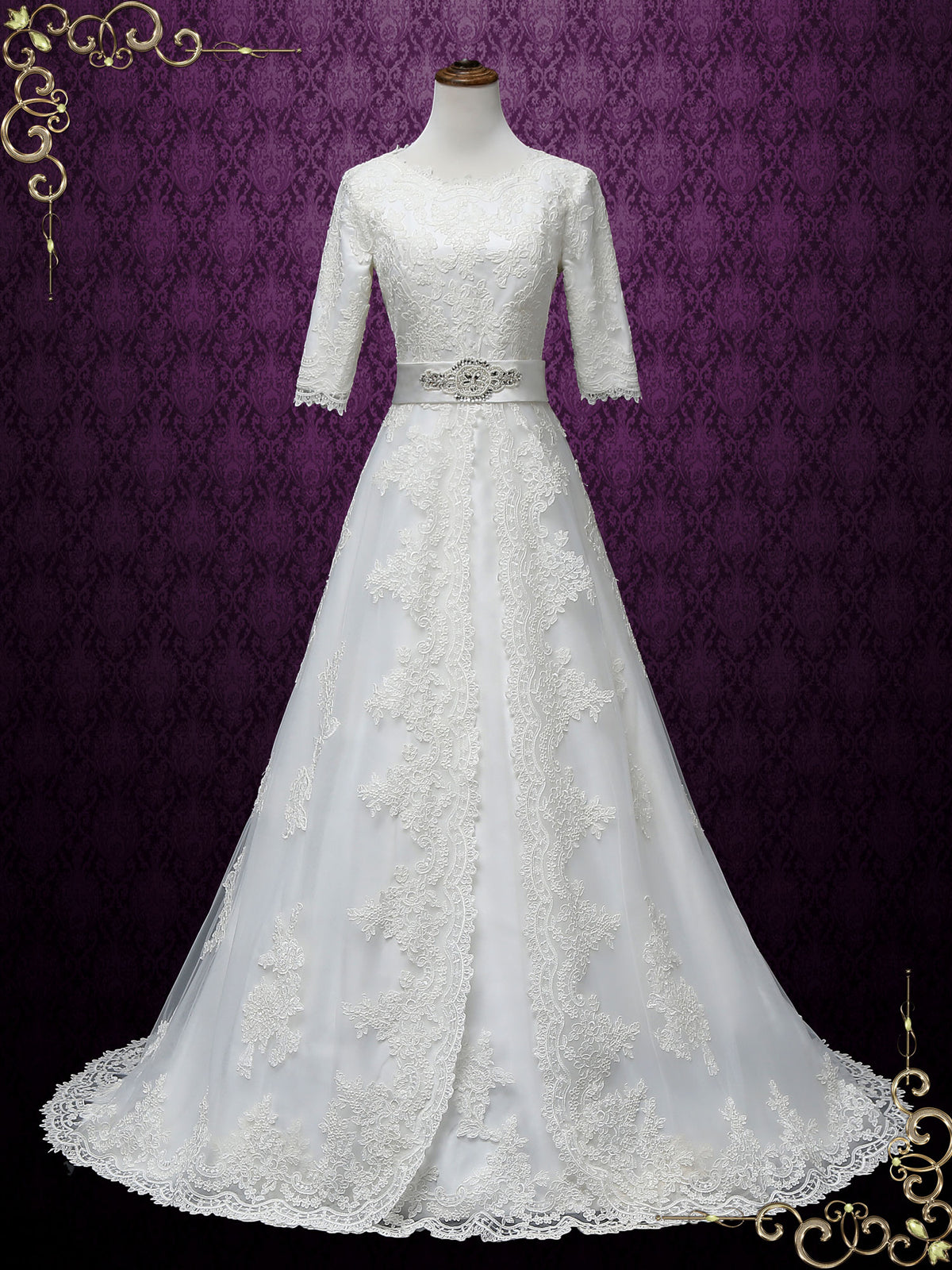 Modest A-line Lace Wedding Dress with Sleeves | LORINA