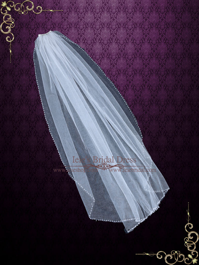 One Layer Fingertip Short Wedding Veil with Pearls and Crystals | VG1074