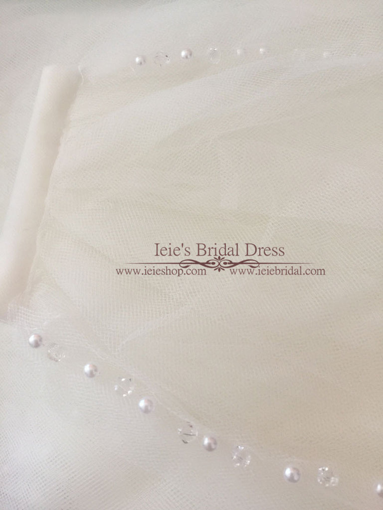 One Layer Chapel Veil with Pearls and Crystals | VG1074