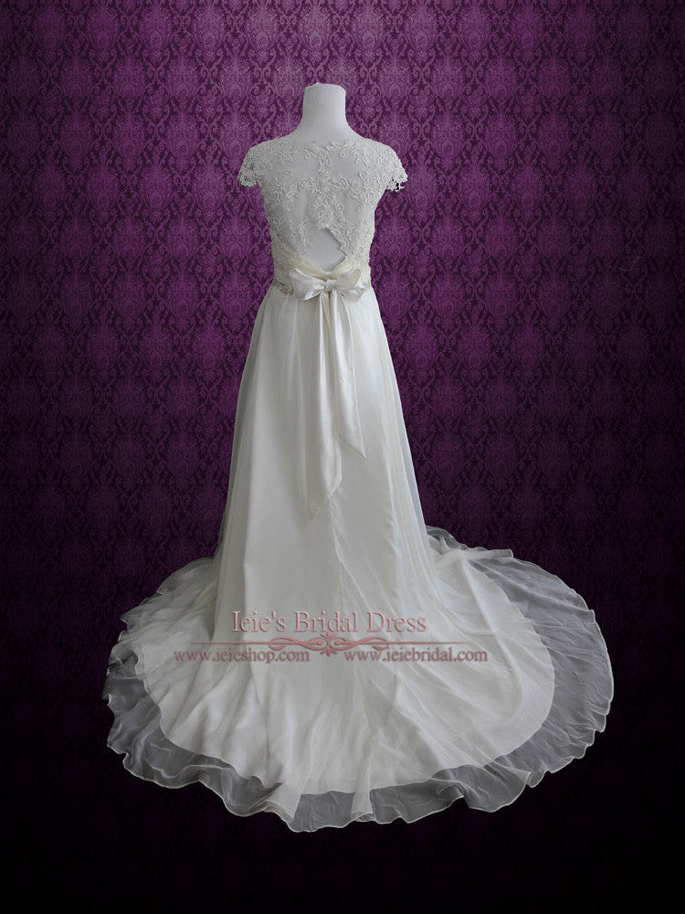 Whimsical Wedding Dress Sheath Chiffon Lace Wedding Dress