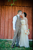 Vintage style strapless cotton lace fit and flare mermaid wedding dress
