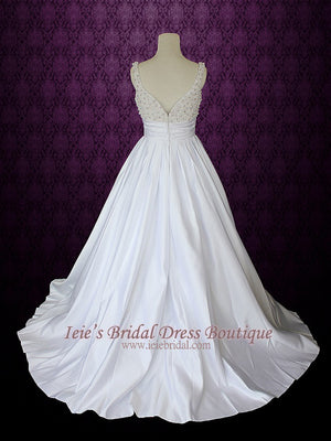 A-line Wedding Dress with Pearls on the bodice