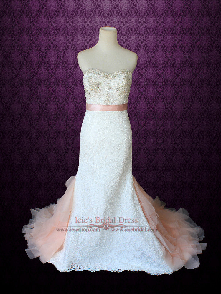 Strapless Slim A Line Lace Wedding Gown With Blush Organza Ruffle