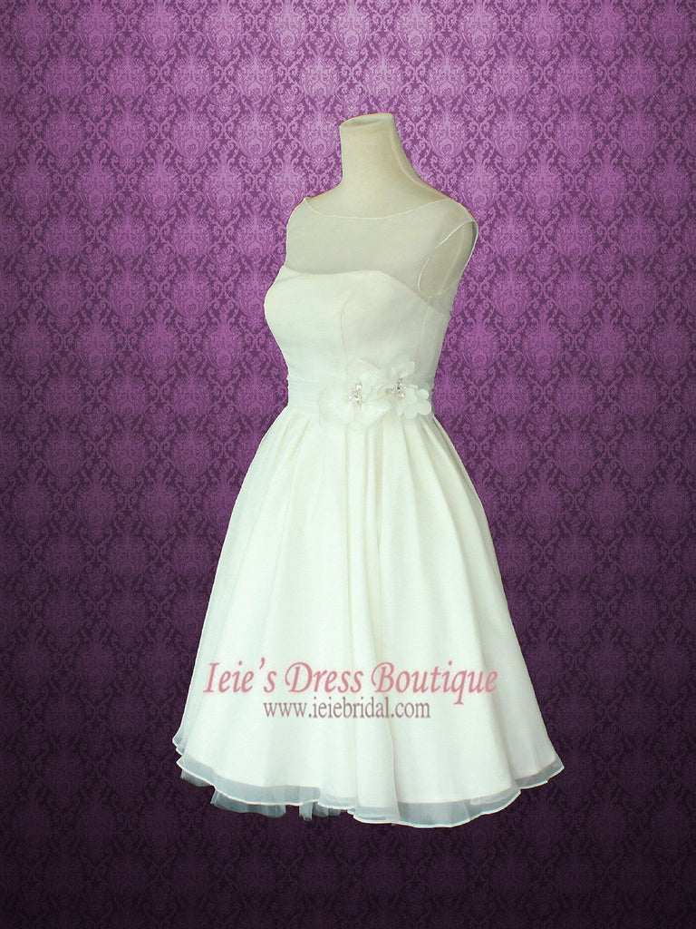 Retro 50s modest vintage style short wedding dress