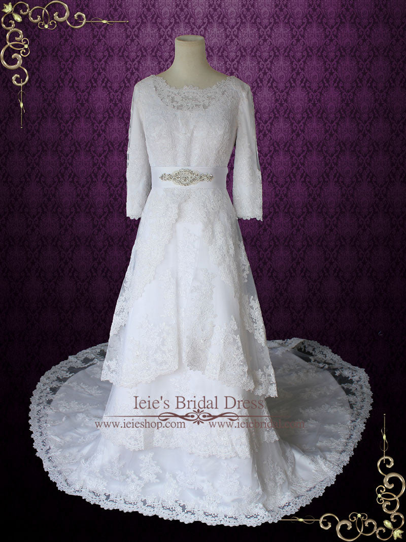 Modest Wedding Dress With Long Sleeves Vintage Lace