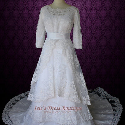 Modest Wedding Dress with Long Sleeves Vintage Lace Wedding Dress with Jewel Neck | Avina